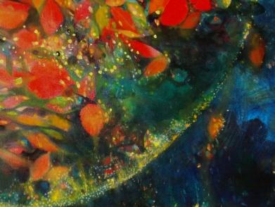 "Detail of ""Autumn Globe"" Oil on Canvas"